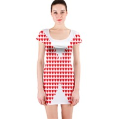 Hearts Butterfly Red Valentine Love Short Sleeve Bodycon Dress