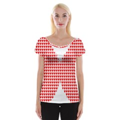 Hearts Butterfly Red Valentine Love Women s Cap Sleeve Top