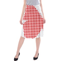 Hearts Butterfly Red Valentine Love Midi Beach Skirt