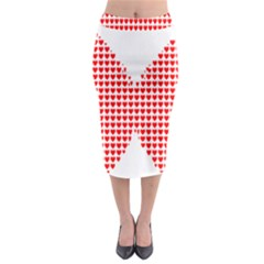 Hearts Butterfly Red Valentine Love Midi Pencil Skirt