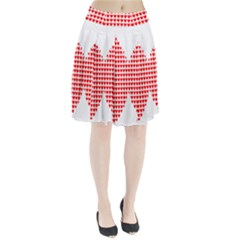 Hearts Butterfly Red Valentine Love Pleated Skirt