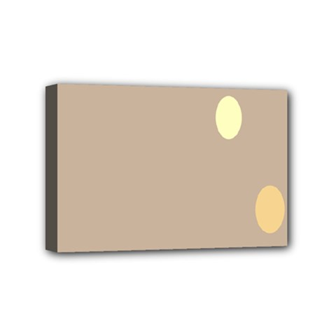 Minimalist Circle Sun Gray Brown Mini Canvas 6  x 4