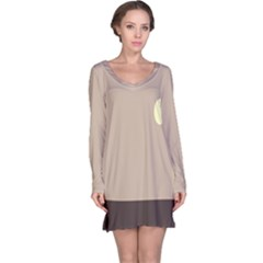 Minimalist Circle Sun Gray Brown Long Sleeve Nightdress