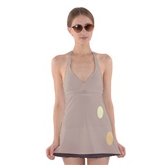 Minimalist Circle Sun Gray Brown Halter Swimsuit Dress