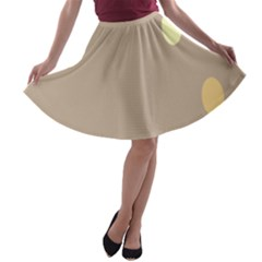 Minimalist Circle Sun Gray Brown A-line Skater Skirt