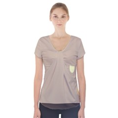 Minimalist Circle Sun Gray Brown Short Sleeve Front Detail Top