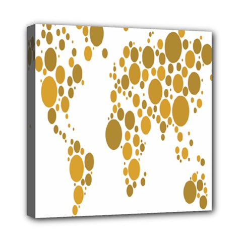 Map Dotted Gold Circle Mini Canvas 8  x 8