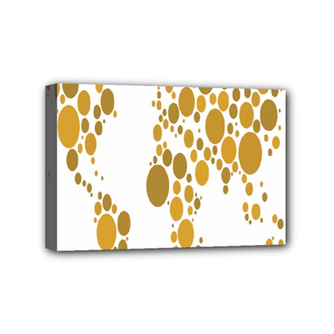 Map Dotted Gold Circle Mini Canvas 6  x 4