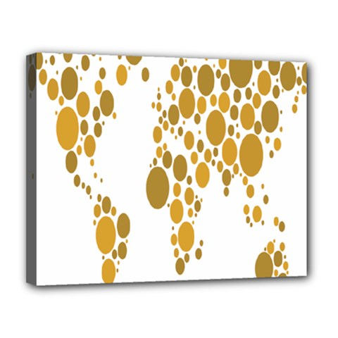 Map Dotted Gold Circle Canvas 14  x 11