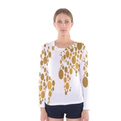 Map Dotted Gold Circle Women s Long Sleeve Tee