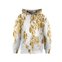 Map Dotted Gold Circle Kids  Zipper Hoodie