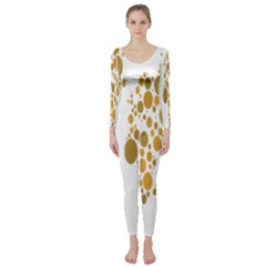 Map Dotted Gold Circle Long Sleeve Catsuit