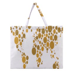 Map Dotted Gold Circle Zipper Large Tote Bag