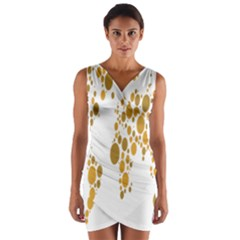 Map Dotted Gold Circle Wrap Front Bodycon Dress