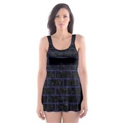 BRK1 BK-MRBL BL-LTHR Skater Dress Swimsuit