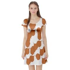 Machovka Autumn Leaves Brown Short Sleeve Skater Dress