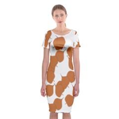 Machovka Autumn Leaves Brown Classic Short Sleeve Midi Dress