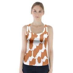 Machovka Autumn Leaves Brown Racer Back Sports Top