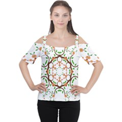 Floral Tree Leaf Flower Star Women s Cutout Shoulder Tee