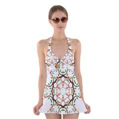 Floral Tree Leaf Flower Star Halter Swimsuit Dress