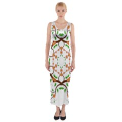 Floral Tree Leaf Flower Star Fitted Maxi Dress