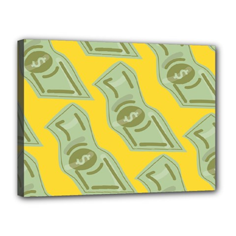Money Dollar $ Sign Green Yellow Canvas 16  x 12
