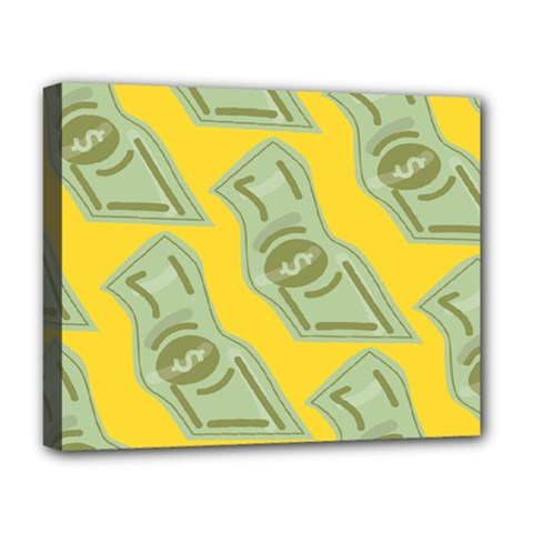Money Dollar $ Sign Green Yellow Deluxe Canvas 20  x 16