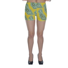Money Dollar $ Sign Green Yellow Skinny Shorts