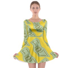 Money Dollar $ Sign Green Yellow Long Sleeve Skater Dress