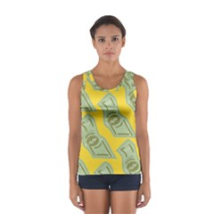 Money Dollar $ Sign Green Yellow Women s Sport Tank Top