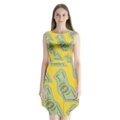 Money Dollar $ Sign Green Yellow Sleeveless Chiffon Dress