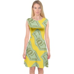 Money Dollar $ Sign Green Yellow Capsleeve Midi Dress