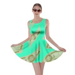 Money Dollar $ Sign Green Skater Dress