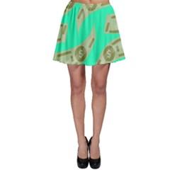 Money Dollar $ Sign Green Skater Skirt