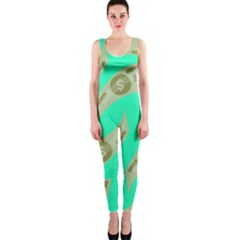 Money Dollar $ Sign Green OnePiece Catsuit