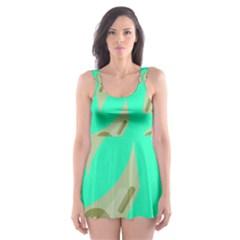 Money Dollar $ Sign Green Skater Dress Swimsuit