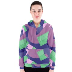 Money Dollar Green Purple Pink Women s Zipper Hoodie