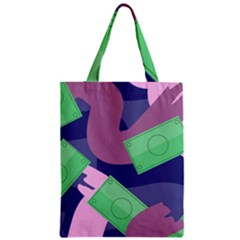 Money Dollar Green Purple Pink Zipper Classic Tote Bag