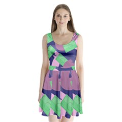 Money Dollar Green Purple Pink Split Back Mini Dress