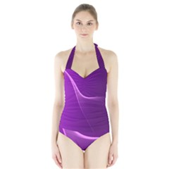 Purple Line Halter Swimsuit