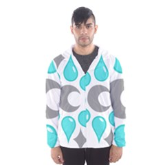 Moon Water Star Grey Blue Hooded Wind Breaker (Men)