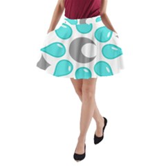 Moon Water Star Grey Blue A-Line Pocket Skirt