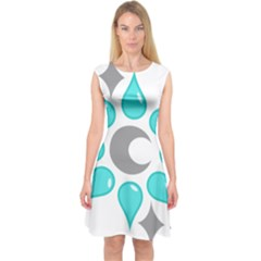 Moon Water Star Grey Blue Capsleeve Midi Dress