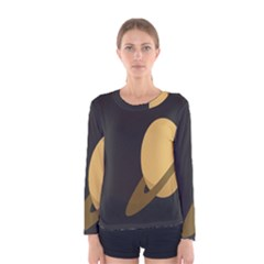 Saturn Ring Planet Space Orange Women s Long Sleeve Tee