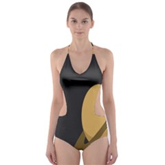Saturn Ring Planet Space Orange Cut-Out One Piece Swimsuit