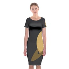 Saturn Ring Planet Space Orange Classic Short Sleeve Midi Dress