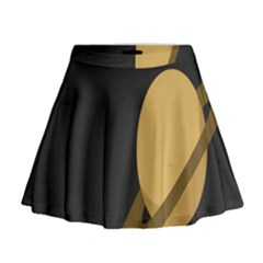 Saturn Ring Planet Space Orange Mini Flare Skirt