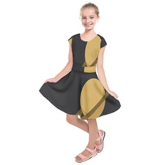 Saturn Ring Planet Space Orange Kids  Short Sleeve Dress