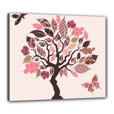 Tree Butterfly Insect Leaf Pink Canvas 24  x 20