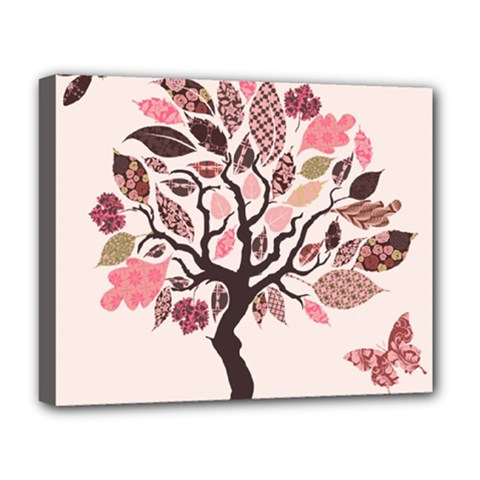 Tree Butterfly Insect Leaf Pink Deluxe Canvas 20  x 16
